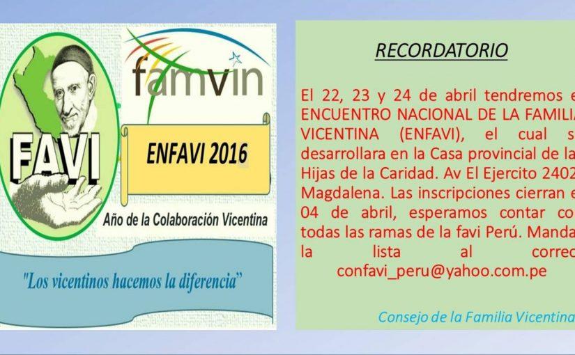 Encuentro Nacional de Familia Vicentina Peru
