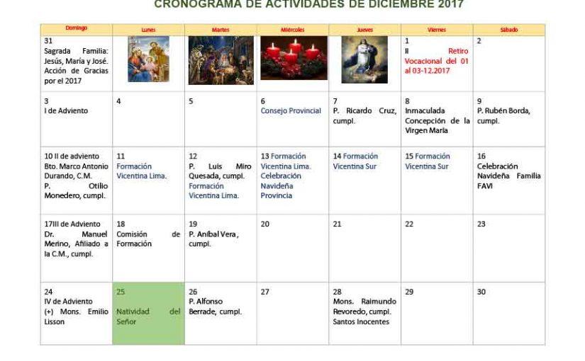 Calendario Diciembre.Calendario Diciembre 2017 Vicentinos Peru